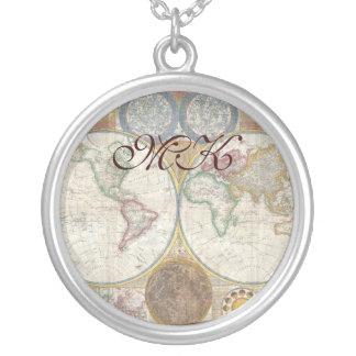 Mapa de Velho Mundo em hemisférios dobro, 1794 Colar Com Pendente Redondo