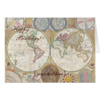 Mapa de Velho Mundo histórico, 1794 - feliz aniver Cartão