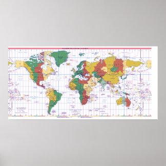 Mapa de zonas de horas padrão do mundo poster