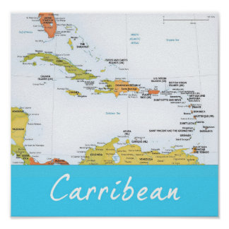 Mapa detalhado do caribe pôster