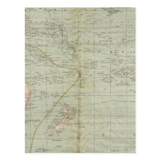 Mapa do atlas de Oceania Cartão Postal