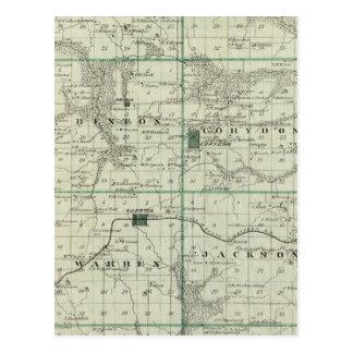 Mapa do Condado de Wayne, estado de Iowa Cartão Postal