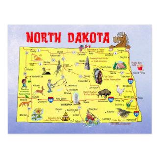 Mapa do estado de North Dakota Cartão Postal