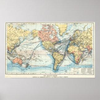 Mapa do Império Britânico Poster