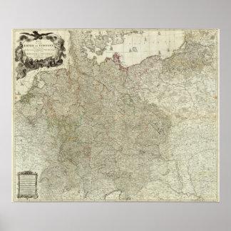 Mapa do império de Alemanha Poster
