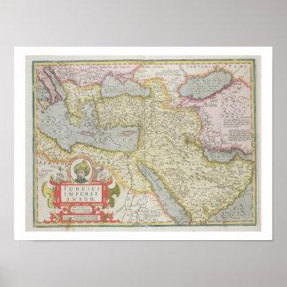 Mapa do império turco, do Mercator 'Atla Poster