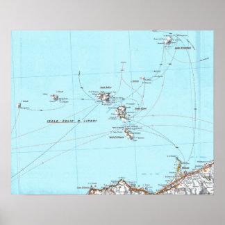 mapa do mappa do eolie do isole pôster