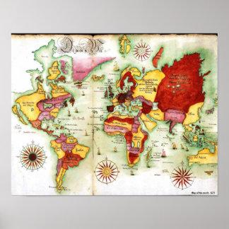 Mapa do mundo, 1675 pôster