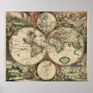 Mapa do mundo - 1689 pôster