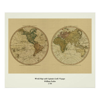 Mapa do mundo 1786 da antiguidade por William Pôster
