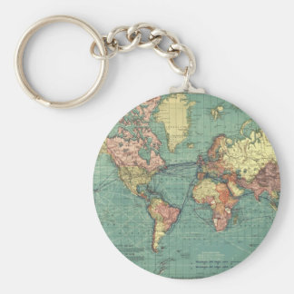 Mapa do mundo 1919 chaveiro