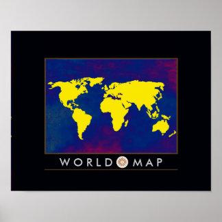 mapa do mundo amarelo pôster