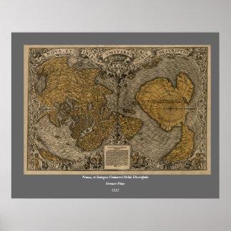 Mapa do mundo antigo do clássico 1531 pela multa d poster