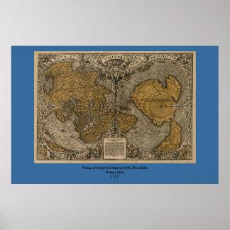 Mapa do mundo antigo do clássico 1531 pela multa pôster