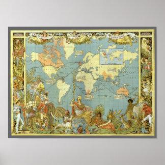 Mapa do mundo antigo do Império Britânico, 1886 Poster