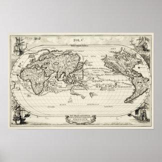 Mapa do mundo antigo do século XVI da réplica deco Poster