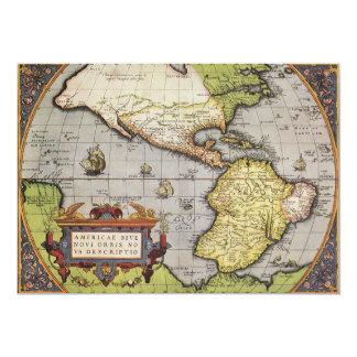 Mapa do mundo antigo dos Americas, 1570 Convite Personalizados