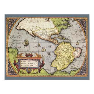 Mapa do mundo antigo dos Americas, convite 1570