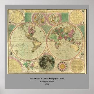Mapa do mundo antigo por Carington Bowles, cerca Pôster