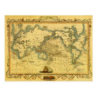 Mapa do mundo antigo velho cartão postal