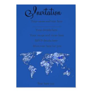 Mapa do mundo azul convite 12.7 x 17.78cm