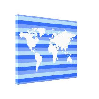 mapa do mundo branco no azul listrado