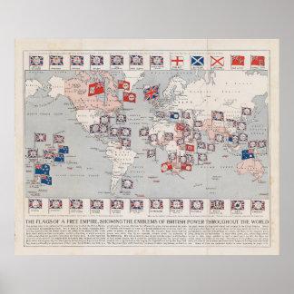 Mapa do mundo do Império Britânico do vintage Pôster