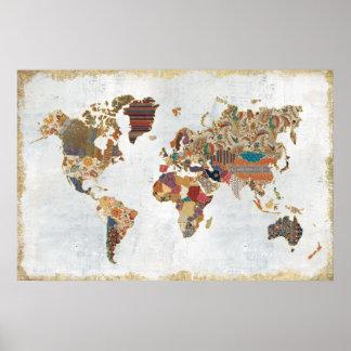 Mapa do mundo do teste padrão pôster