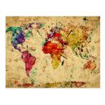 Mapa do mundo do vintage cartão postal