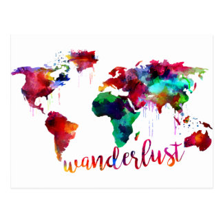 Mapa do mundo do Wanderlust da aguarela Cartão Postal