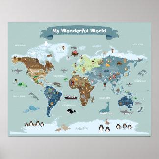 Mapa do mundo dos miúdos com imagens e animais pôster