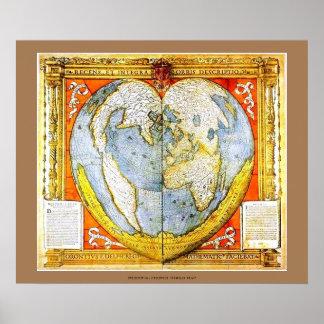 Mapa do mundo francês medieval dado forma coração pôster