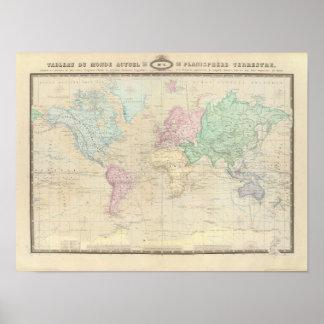 Mapa do mundo histórico 2 poster
