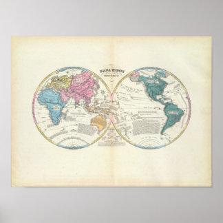 Mapa do mundo histórico 3 poster