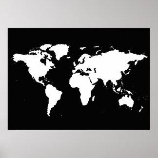 mapa do mundo preto e branco pôster