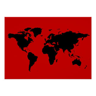 mapa do mundo preto e vermelho pôster