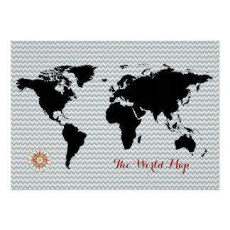 mapa do mundo preto na viga pôster