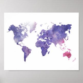 Mapa do mundo roxo da aguarela poster