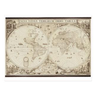 Mapa do mundo velho, antigo cartão postal