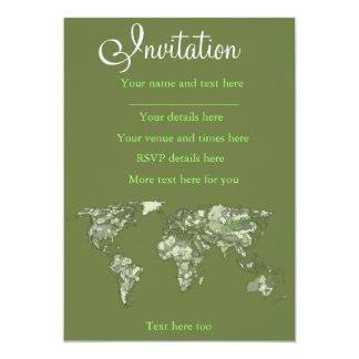 Mapa do mundo verde Khaki Convite 12.7 X 17.78cm
