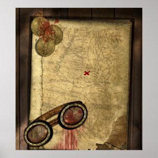 Mapa do pirata, moedas de ouro e pôster