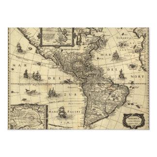 mapa do século XVII dos Americas Convite 11.30 X 15.87cm