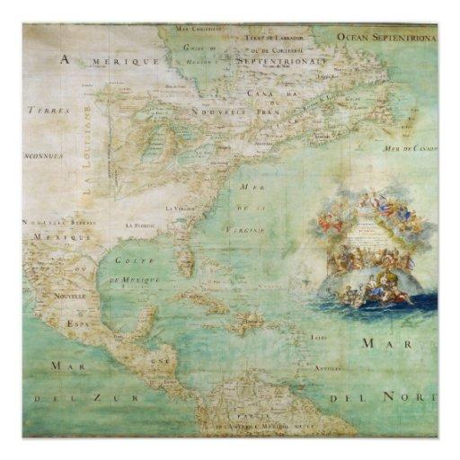 Mapa do século XVII os Americas por Claude Bernou Convites Personalizados