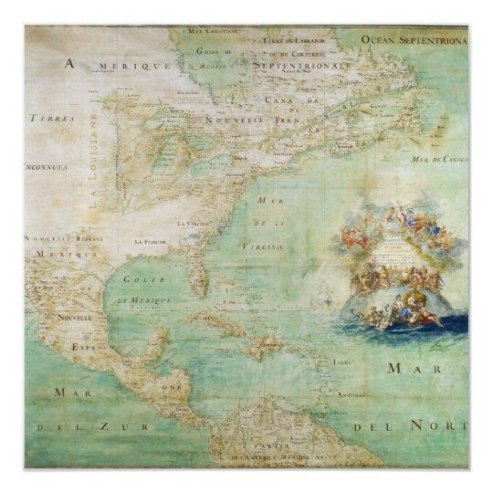 Mapa do século XVII os Americas por Claude Bernou Convite Quadrado 13.35 X 13.35cm
