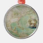 Mapa do século XVII os Americas por Claude Bernou Enfeite Para Arvore De Natal