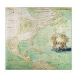 Mapa do século XVII os Americas por Claude Bernou Impressão De Canvas Envolvida