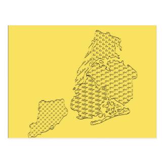 Mapa do teste padrão da cidade de New York Cartão Postal