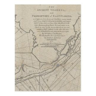 Mapa do vintage das chaves de Florida (1771) (2) Cartão Postal