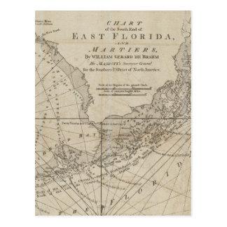 Mapa do vintage das chaves de Florida (1771) Cartão Postal