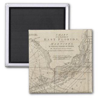 Mapa do vintage das chaves de Florida (1771) Ímã Quadrado